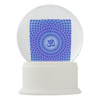Purple Blue Lotus flower meditation wheel OM Snow Globe