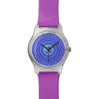 Purple Blue Lotus flower meditation wheel OM Wristwatches