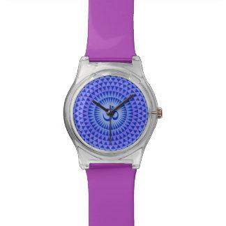 Purple Blue Lotus flower meditation wheel OM Wristwatches