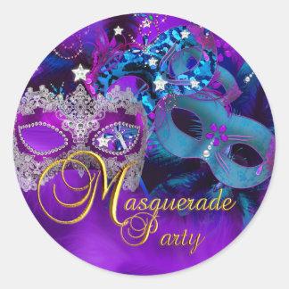 Purple & Blue Masks Masquerade Party Sticker