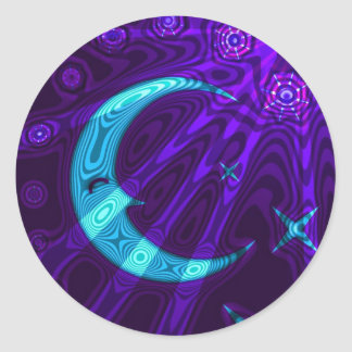 Purple/Blue Moon Star Sticker