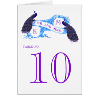 Purple, Blue Peacock Vintage Wedding Table Card