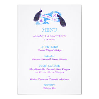 Purple, Blue Peacock Wedding Menu Card
