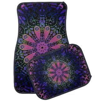 Purple Blue Pink Floral Lace Mandala Car Mat