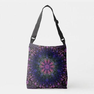 Purple Blue Pink Floral Lace Mandala Crossbody Bag