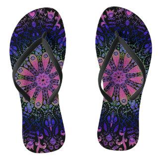 Purple Blue Pink Floral Lace Mandala Flip Flops