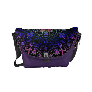 Purple Blue Pink Floral Lace Mandala Messenger Bags