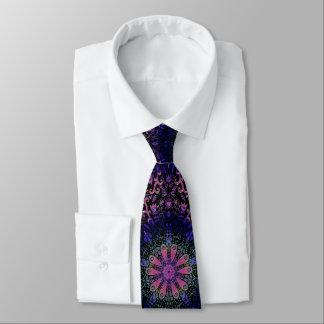 Purple Blue Pink Floral Lace Mandala Tie