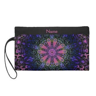 Purple Blue Pink Floral Lace Mandala Wristlet