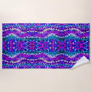 Purple Blue Pink Mosaic Tile Pattern Beach Towel