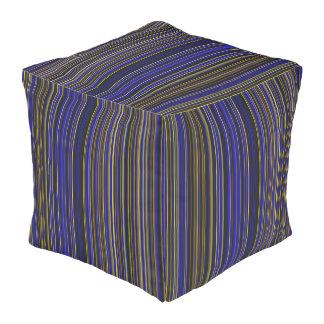 Purple blue  retro stripe square pouf