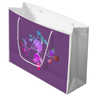 Purple Blue Rose Paper Bag