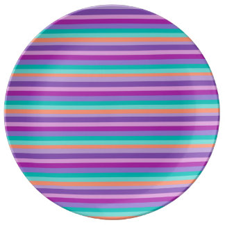 Purple Blue Stripes  Decorative Porcelain Plate