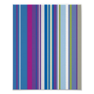 Purple Blue Stripes Pattern Poster