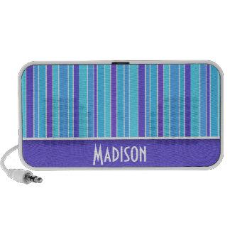 Purple & Blue Stripes; Striped Mp3 Speakers