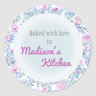 Purple Blue Succulents  Personalized Baked Goods Classic Round Sticker