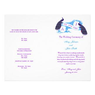 Purple Blue Vintage Peacock Wedding Program