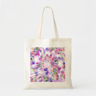 Purple blue watercolor abstract floral monogram budget tote bag