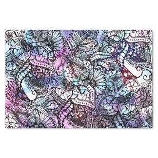 Purple blue watercolor floral hand drawn pattern tissue paper