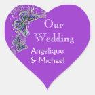 Purple blue wedding butterfly floral heart sticker