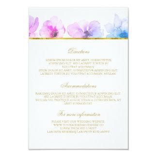 "Purple Blue Wedding Details - Information 3.5"" X 5"" Invitation Card"