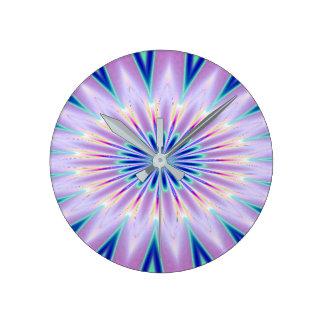 Purple Blue White Kaleidoscope Wall Clock