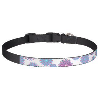 Purple Blue Winter Snowflakes Christmas Pattern Dog Collar