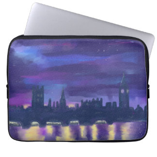 Purple Blue Yellow Art Sunset Over London Painting Computer Sleeves