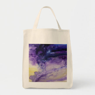 Purple blue yellow colorful abstract splatters tote bag