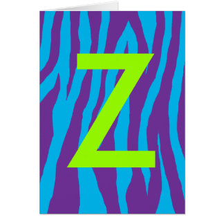 Purple & Blue Zebra Print Card