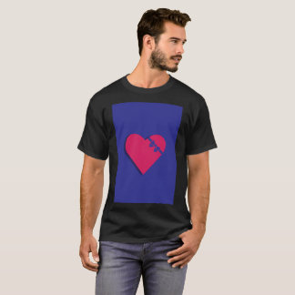 Purple Blueish Vibrant Heart Shadow Modern T-Shirt
