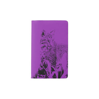 Purple Bobcat Portrait Notebook Cover