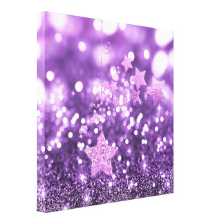 Purple Bokeh Faux Glitter & Stars Canvas Print