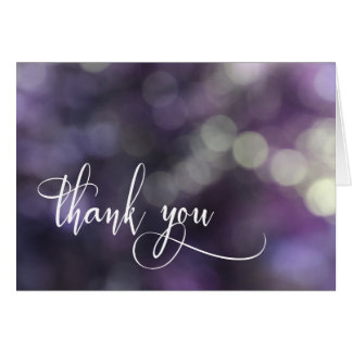 Purple Bokeh Light & Typography 32 Thank You Card