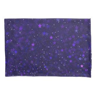 Purple Bokeh Stars Pillowcase