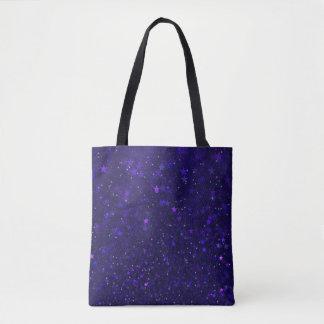 Purple Bokeh Stars Tote Bag