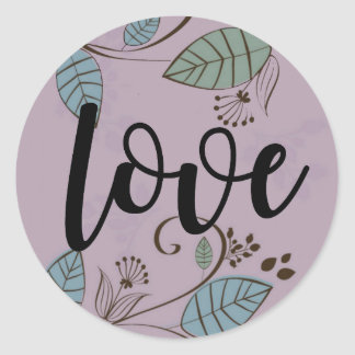 Purple Bold Boho Love Sticker with Leaves Vines
