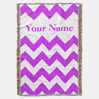 Purple Bold Chevron with custom name Throw