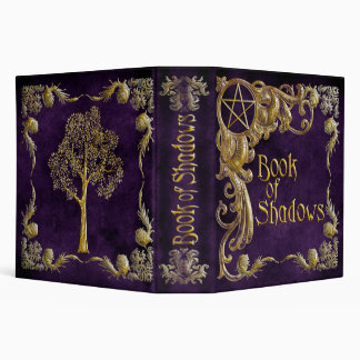 """Purple """"Book Of Shadows"""" w/ Gold Highlights #1-L 3 Ring Binder"""