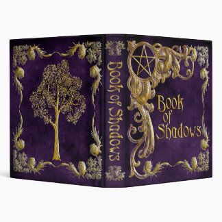 "Purple ""Book Of Shadows"" w/ Gold Highlights #1-Sm Vinyl Binder"