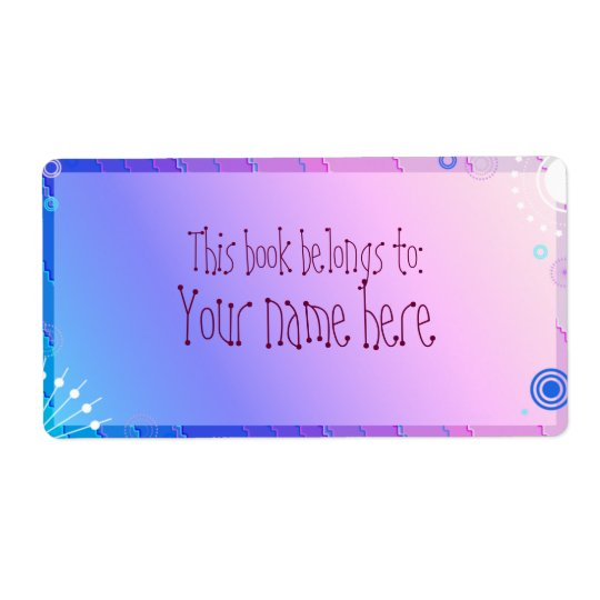 purple bookplate shipping label