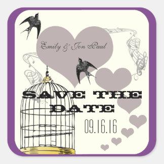 Purple Borders Bird Cage & Hearts Weddings Square Sticker