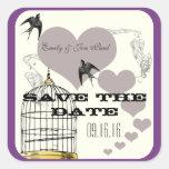 Purple Borders Bird Cage & Hearts Weddings Square Stickers