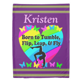 PURPLE BORN TO TUMBLE PERSONALIZED GYMNAST DUVET