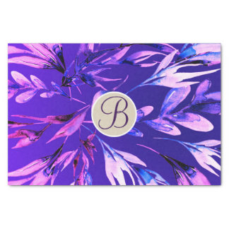 Purple Botanical Leaves Monogram Letter Initial Tissue Paper