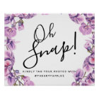 purple botanical oh snap wedding sign hashtag