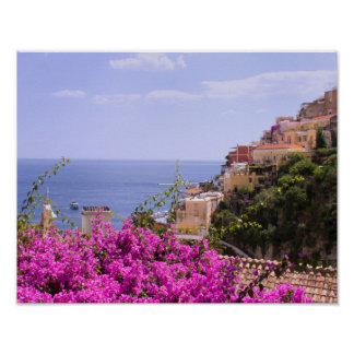 Purple Bougainvillea With View Of Positano Poster