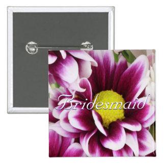 Purple Bouquet Bridesmaid 2 Inch Square Button