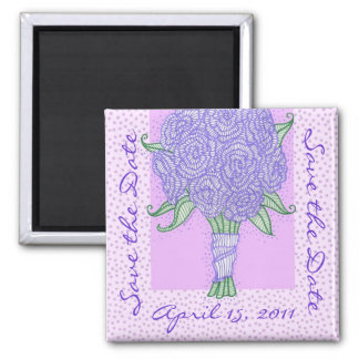 Purple Bouquet Save the Date Square Magnet
