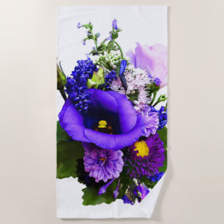 Purple Bouquet With Lilies And Delphinium Beach Towel
